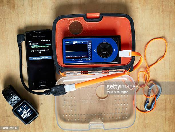 A continuous glucose monitoring system is photographed for IEEE Spectrum on April 28 2015 in Buffalo New York A box contains the receiver and a...