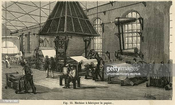 Continuous paper making machinery, Essonne paper works. Engraving 1876.