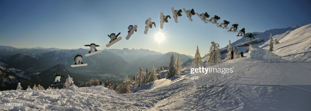Continuous Shooting, Snowboarder doing a Monster Spin Trick (XXXL) : Stock Photo