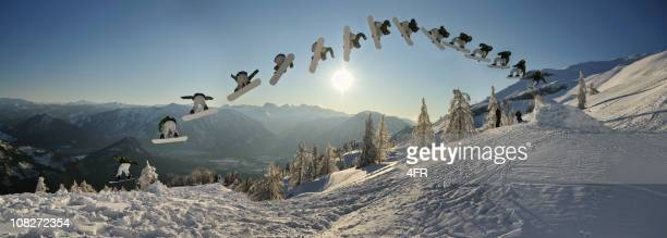 continuous shooting, snowboarder doing a monster spin trick (xxxl) - big air bildbanksfoton och bilder