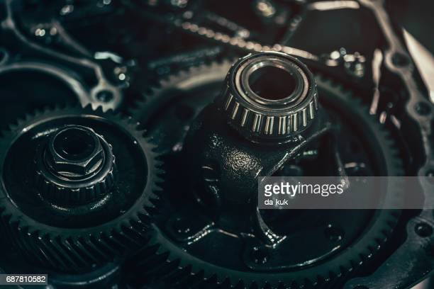 Continuously variable transmission metal parts close-up