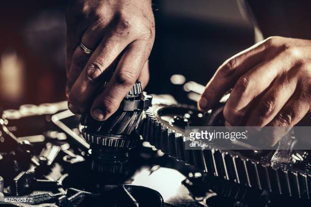 continuously variable transmission repair close-up - gear stock pictures, royalty-free photos & images