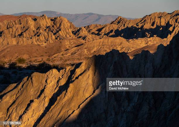 Contorted mud hills that were once at the bottom of ancient Lake Cahuilla are seen on top of the San Andreas Fault near Mecca, north of the Salton...