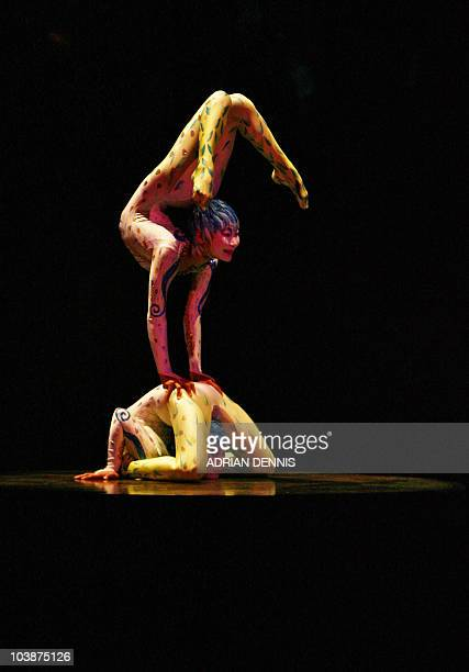 Contortion perform during the dress rehearsal of Cirque Du Soleil's Alegria at The Royal Albert Hall in London 04 January 2007 The show which opens...