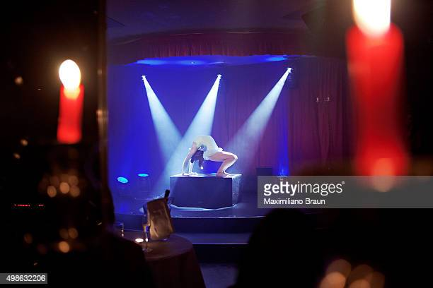 Contortionist artist Pixie Le Knot performing on stage on a Tassel Club night at Proud Cabaret The Tassel Club runs a deal with Proud Cabaret in...