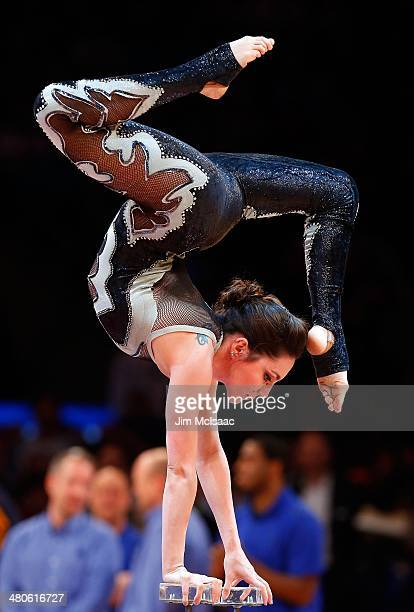 Contortionist Estefania Laurino performs during a timeout of a game between the New York Knicks and the Indiana Pacers at Madison Square Garden on...