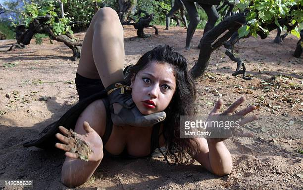 Contortionist Leilani Franco performs at a preview for NoFit State Circus new summer show at the Eden Project on March 29 2012 in St Austell England...