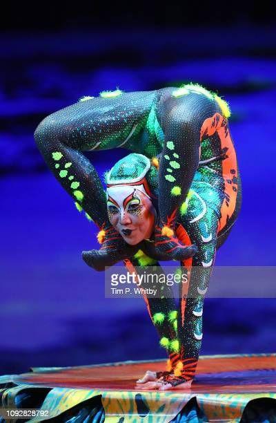 Contortionist OyunErdene Sende from Cirque Du Soleil TOTEM during a full dress rehearsal at Royal Albert Hall on January 11 2019 in London England