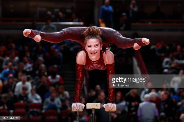 Contortionist Sofie Dossi performs during the Golden State Warriors game against the Chicago Bulls on January 17 2018 at the United Center in Chicago...