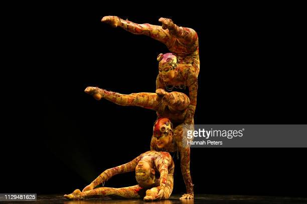Contortionists perform during the Cirque du Soleil KOOZA on February 14 2019 in Auckland New Zealand