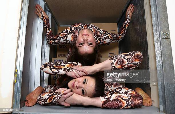 Contortionists Pixie Le Knot and Oohla Lowri squeeze themselves into a square locker at Access Self Storage to highlight the variety of storage...