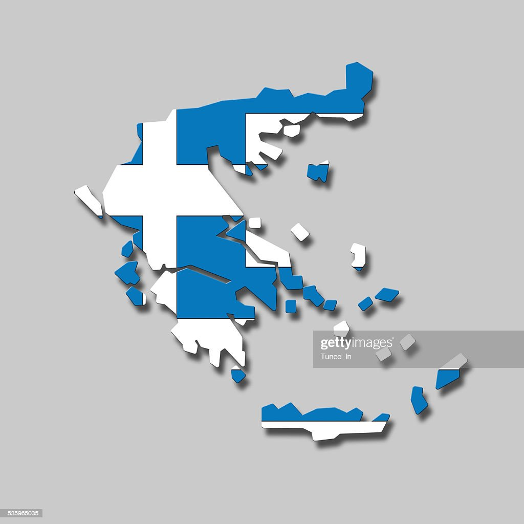Contour of Greece against grey background, digital composite : Stock Photo
