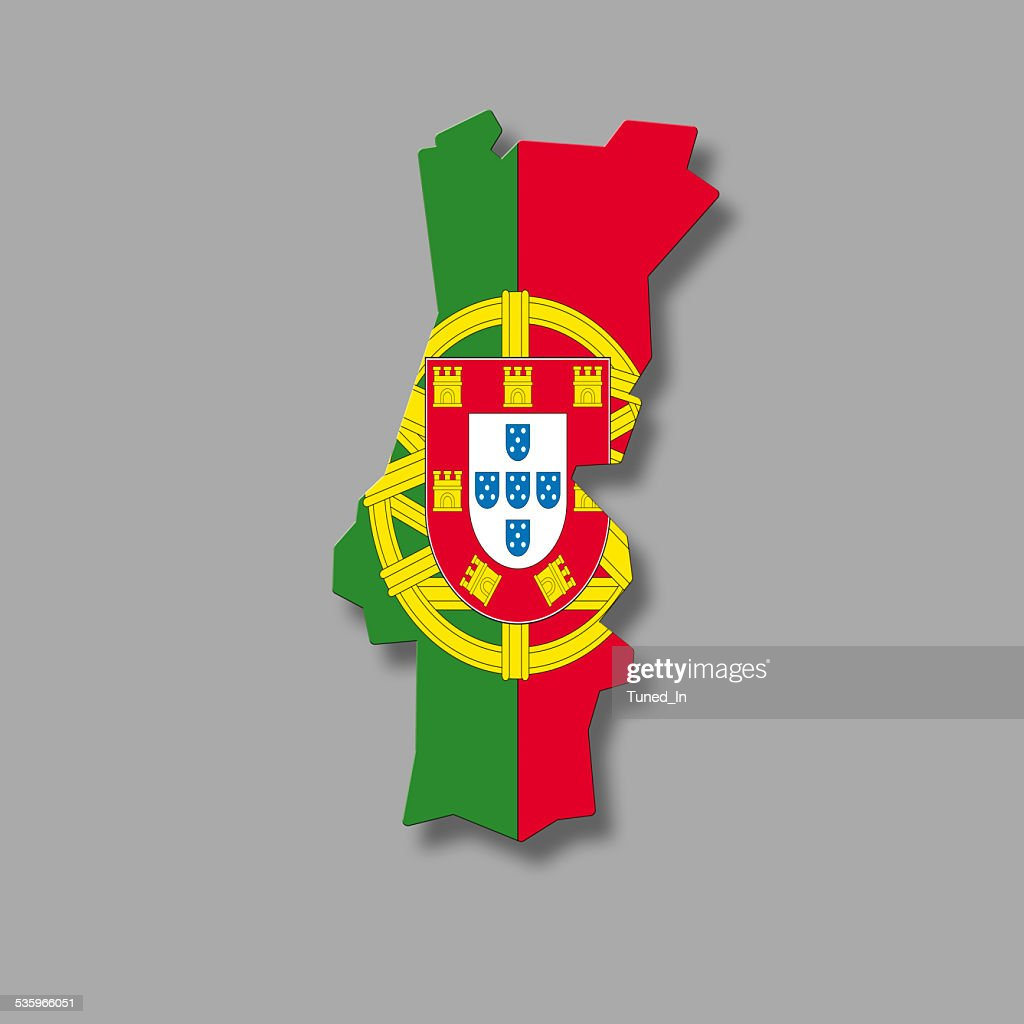 Contour of Portugal against grey background, digital composite : Stock Photo