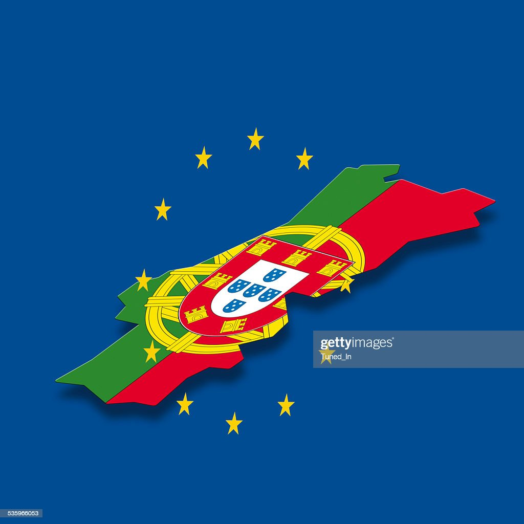 Contour of Portugal with European Union stars : Stock Photo