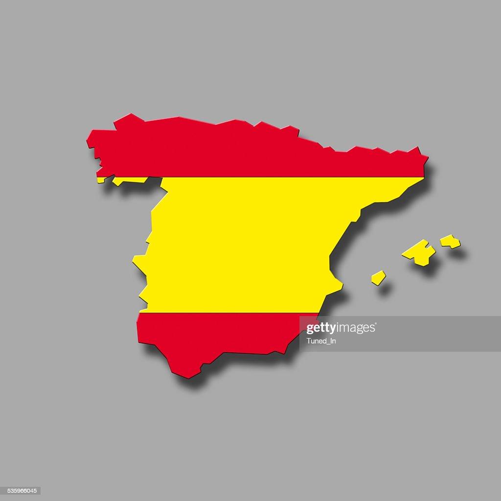Contour of Spain against grey background, digital composite : Stock Photo