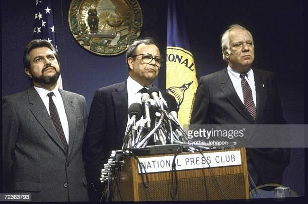 Contra ldrs Adolfo Calero Arturo Cruz and Alfonso Robelo at National Press Club re House vote defeating Contra aid bill