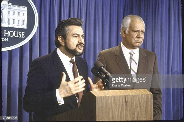 Contra ldrs Alfonso Robelo and Adolfo Calero at the White House