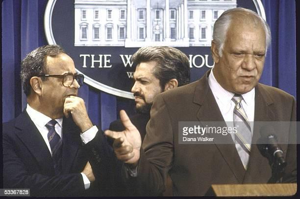 Contra leaders Arturo and Roberto Cruz and Adolfo Calero at White House