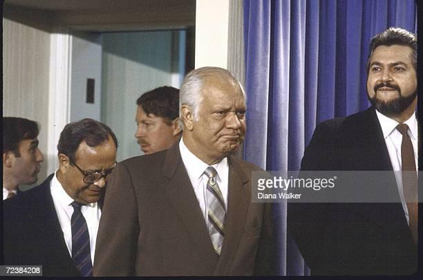 Contra leaders Arturo Cruz Adolfo Calero and Alfonso Robelo at White House