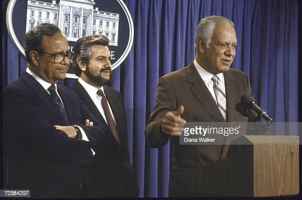 Contra leaders Arturo Cruz Alfonso Robelo and Adolfo Calero at White House