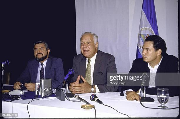 Contra leaders Pedro Joaquin Chamorro Jr Adolfo Calero Portocarrero and Alfonso Robelo Callejas attending a meeting to discuss a regional peace plan