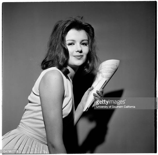 Contract approval 12 May 1961 Pamela Tiffin 18 yearsCaption slip reads 'Photographer Tompkins Date Reporter Tompkins Assignment Contract approval for...