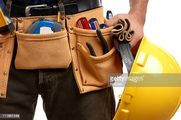 Contractor Man Wearing Carpenter Toolbelt Isolated on White Background