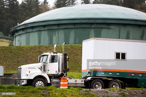 A contractor works at the Kinder Morgan Inc Trans Mountain pipeline expansion site in Burnaby British Columbia Canada on Wednesday April 11 2018...