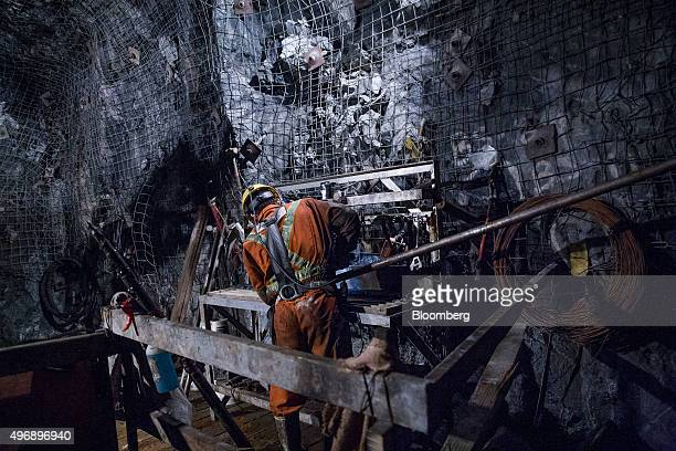 A contractor works at the underground Glencore Plc BracemacMcLeod zinc mine in Malartic Quebec Canada on Friday Sept 11 2015 After tumbling in the...