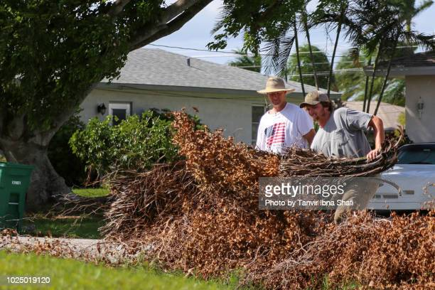 contractors cleaning up after hurricane irma damage; cape coral, fl, usa - 2017 hurricane irma stock pictures, royalty-free photos & images