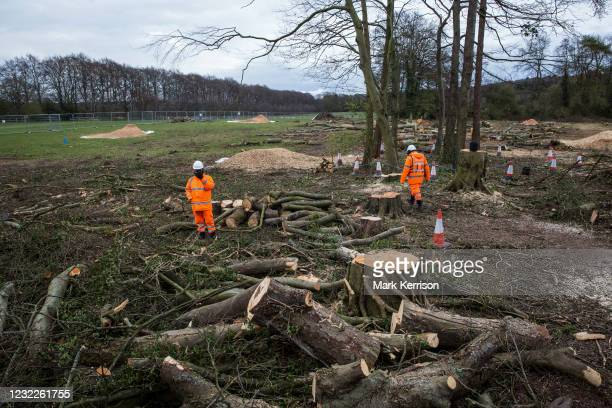 Contractors monitor a site alongside the A413 where trees have recently been felled for the HS2 high-speed rail link on 9th April 2021 in Wendover,...