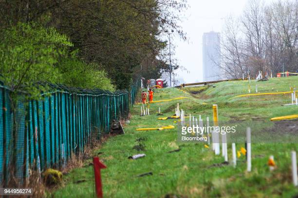 Contractors work at the Kinder Morgan Inc Trans Mountain pipeline expansion site in Burnaby British Columbia Canada on Wednesday April 11 2018...