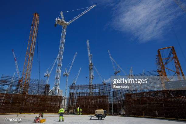 Contractors work inside Reactor Unit Two on the construction project for Hinkley Point C nuclear power station operated by Electricite de France SA...