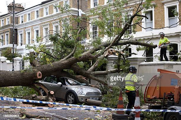 Contractors work on clearing the debris after a tree fell on car during a storm in London on October 28 2013 More than 300000 homes were left without...