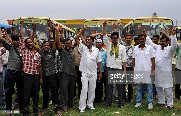 Contractual employees of Uttar Pradesh State Road Transport Corporation protested in the premises of a bus stand with their 14 listed demands on June...