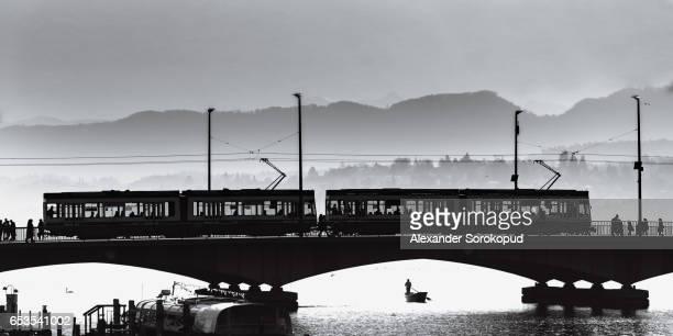 Contrast aerial view of bridge in Zurich, Switzerland