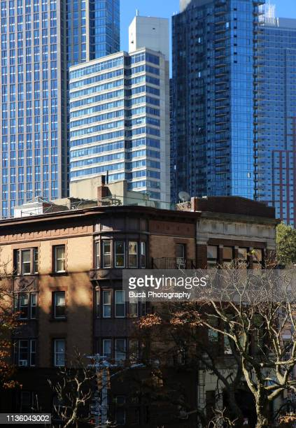 contrast between old buildings and bew residential towers in fort greene. brooklyn, new york city, usa - brooklyn new york stock pictures, royalty-free photos & images