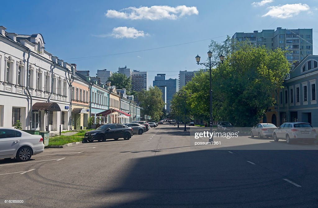 Contrast between the old and the modern urban buildings. Moscow, : Stock Photo