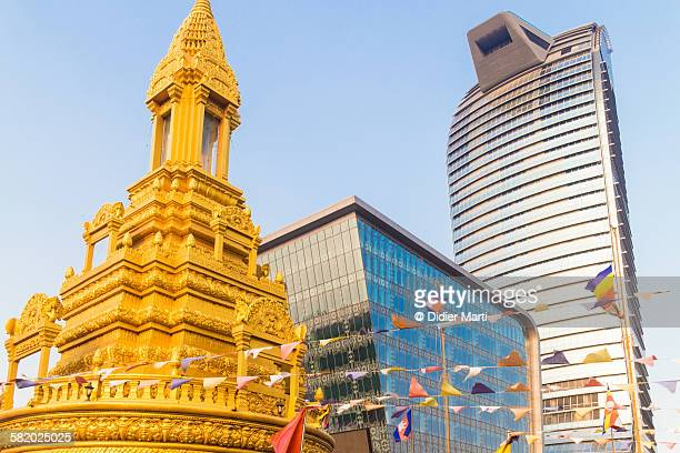 contrast in phnom penh, cambodia - emerging markets stock photos and pictures