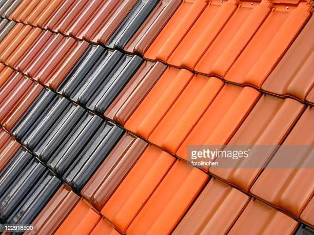 Contrast of clay roof tiles with symmetry