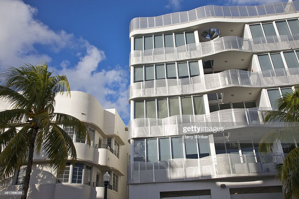 Contrast Of Modern And Original Art Deco Buildings Stock Photo