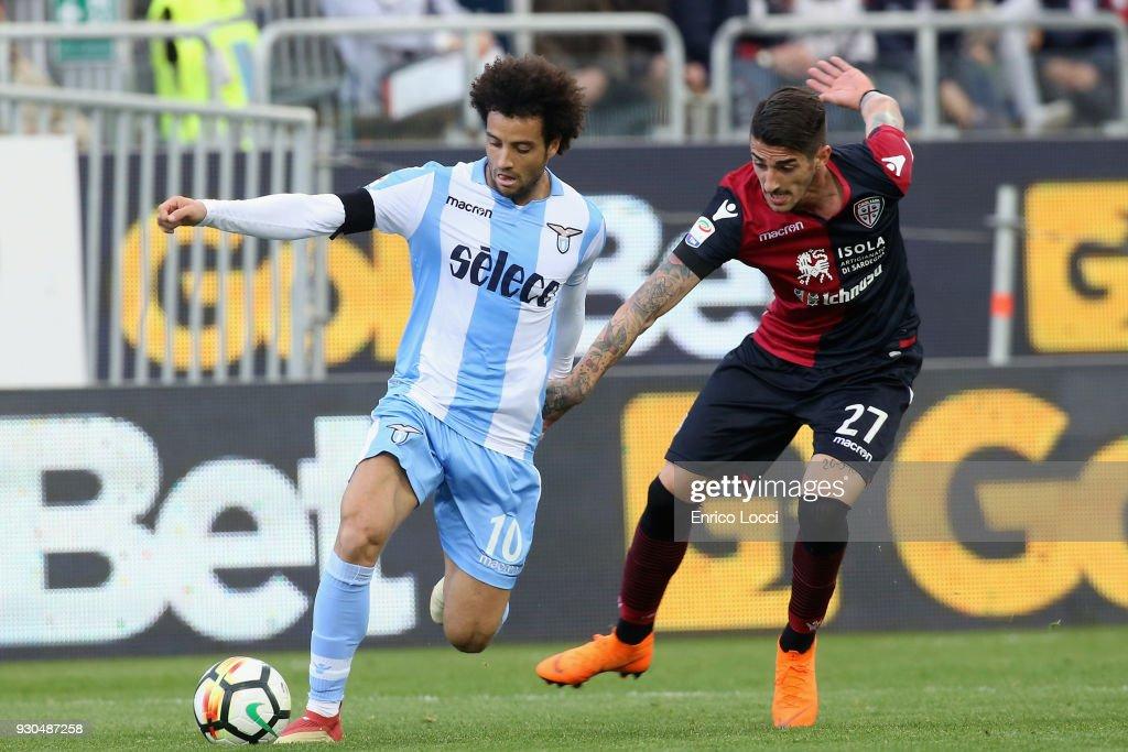 Contrast with Alessandro Deiola of Cagliari and Felipe Anderson of Lazio during the serie A match between Cagliari Calcio and SS Lazio at Stadio Sant'Elia on March 11, 2018 in Cagliari, Italy.