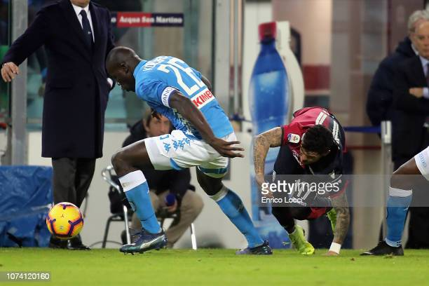 Contrast with Kalidou Koulibaly of Napoli and Diego Farias of Cagliari during the Serie A match between Cagliari and SSC Napoli at Sardegna Arena on...