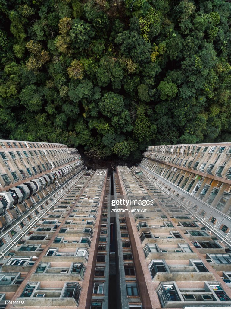 Contrasting image between nature and a building complex shot with a drone, Hong Kong : Stock Photo