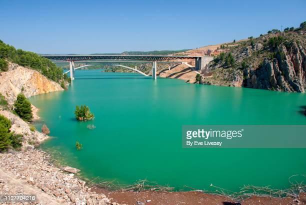 contreras reservoir & two bridges - alta velocidad espanola stock pictures, royalty-free photos & images
