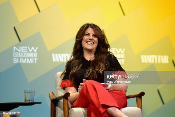 Contributing editor at Vanity Fair Monica Lewinsky speaks onstage at Day 1 of the Vanity Fair New Establishment Summit 2018 at The Wallis Annenberg...