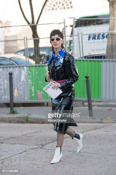 Contributing fashion editor at T Magazine Spain Alicia Padron wears a Loewe jacket and belt Marni shirt and Vivienne Westwood boots day 4 of Paris...