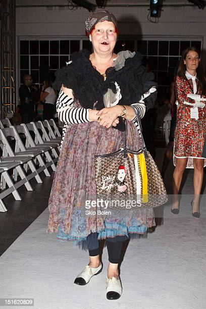 Contributing fashion editor to Vogue.com, Lynn Yaeger attends the Altuzarra show during Spring 2013 Mercedes-Benz Fashion Week at Industria...
