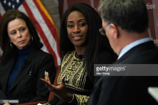 Contributing writer at the New Yorker Robin Wright and Washington Post global opinion editor Karen Attiah participate in a discussion at the Hoover...