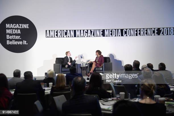 Contributor The New Yorker Ronan Farrow and Editor at Large O The Oprah Magazine Gayle King speak on stage at the American Magazine Media Conference...